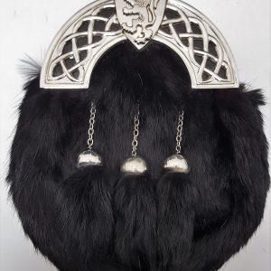New Chrome Celtic Shield Black Rabbit Sporran